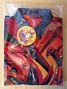 Vtg 1996 Yu-Gi-Oh! Youth L Dress Collar Button-Up All Over Print Shirt NEW NWT