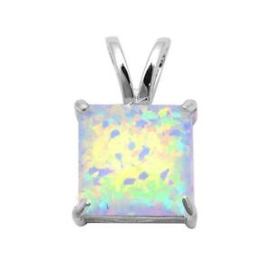 Square Opal Pendant Necklace set in Solid Sterling Silver w/chain