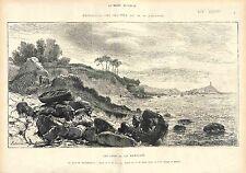 Douarnenez Finistere Bretagne France GRAVURE ANTIQUE PRINT 1874