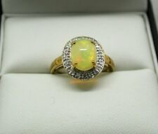 Beautiful 9 Carat Gold Opal And Diamond Dress Ring Size N Fabulous Opal