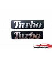 Paire de Monogrammes d'ailes TURBO pour Renault 21 2L TURBO ALU BROSSE