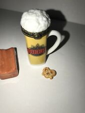 Phb Midwest of Cannon Falls Beer Mug & Pretzel Porcelain Hinged Box Trinket
