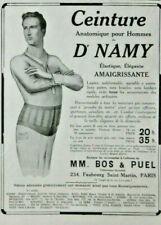 PUBLICITÉ DE PRESSE 1914 CEINTURE ANATOMIQUE POUR HOMMES AMAIGRISSANTE Dr NAMY