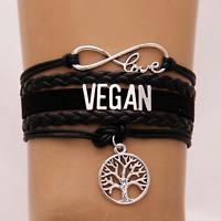 Love Vegan Bracelet with Tree of Life Bangle - Black - UK Stock - FREE P&P