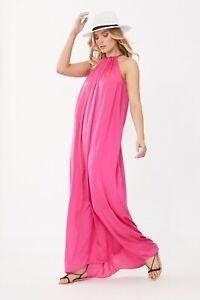 BNWT Decjuba Sicily Fuchsia Pink Halter Maxi Dress Size Small RRP$150