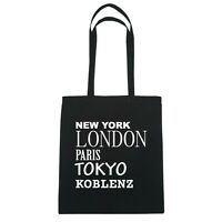New York, London, Paris, Tokyo KOBLENZ - Bolsa De Yute - Color: negro