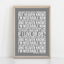 More details for the smiths heaven knows i'm miserable now song lyrics poster print wall art