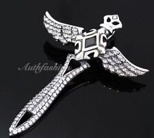 Men Sterling Silver Solid Wing Sword Pendant Cross Gothic Zirconia Rider Hip hop
