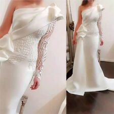 White One-Shoulder Long Sleeve Lace Appliques Formal Evening Party Dress Custom