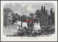 GRAVURE Les Ruines du Pont de Champigny  1871