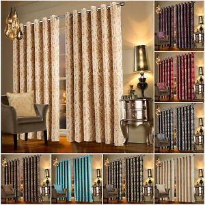 Living Room Luxury Curtains Eyelet Ring Top Fully Lined Ready Made Curtain Pair