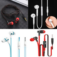 3.5mm Stereo In-Ear bass Earbud Earphone Headset with Mic for iphone Samsung EN