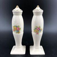 Vintage Salt & Pepper Shakers Ceramic Floral Elegant Gold Trim Shabby Chic