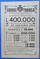 VOLANTINO GRANDE TOMBOLA NAZIONALE TELEGRAFICA DEL 30 GIUGNO 1914