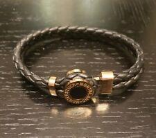 Montblanc Mens Leather & Stainless Meisterstuck Bracelet - Black / Rose Gold