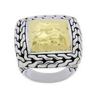 Auth JOHN HARDY Sterling Silver & 22K Gold Classic Chain Ring Size 5.5 »U48