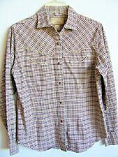 Bit & Bridle Ladies Western Shirt 100% Cotton Tan Plaid/Check Edged Yoke Snaps M
