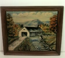 Oil On Board Covered Bridge Connecticut signed