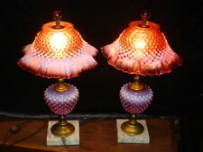 FENTON CRANBERRY HOBNAIL OPALESCENT LAMP GRANDMOTHER STYLE ONE LAMP