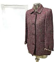 Aquascutum Ladies Vintage Purple Wool Blazer Jacket Womens UK Size 12-14 Medium