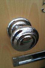 QUALITY extra large Centre Front Door Knob on 107mm Rose in Polished Chrome