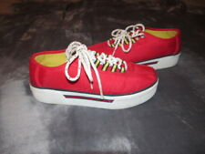 Vintage 1990 Tommy Hilfiger Red Chunky Platform Shoes Sneakers block logo Size 8