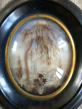SUPERB ANTIQUE FRENCH SENTIMENTAL MOURNING HAIR ART 1870's