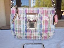 COACH Madras Plaid Pink Sequin Gold Leather Trim Crossbody Swingpack