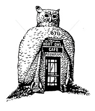 100 PROOF PRESS RUBBER STAMPS HOOT OWL CAFE STAMP