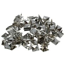 12mm 100PCS Pyramid Studs Rivets Spots Nickel Punk Bag Belt Leathercraft Silver