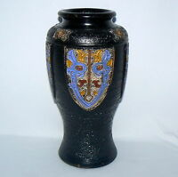 "Japanese  Black Blue Yellow Vase Ground Porcelain 10"" High 3"" Wide Mouth"