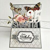 Handmade Name & Age Personalized birthday Anniversary Retirement graduation card
