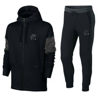 Men's Nike Air Sportswear NSW Full Zip Cotton Tracksuit Set Hoodie Jogger Black