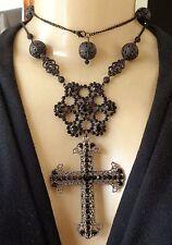 Vintage Necklace Huge Gothic Black Rhinestone Cross Pendant Long Filigree Chain