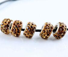 20PCS Silver CZ Crystal Beads Fit European Charm Bracelet DIY Jewelry Making