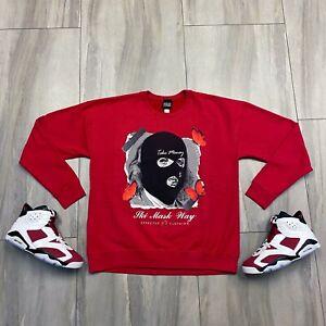Sweater to match Jordan Retro 6 Carmine Sneakers. Ski Mask Crewneck