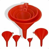 4PC Funnel Set Plastic Pouring Funnels 55, 75, 100,125MM Kitchen Petrol Fuel NEW