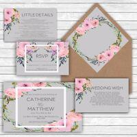 Personalised Luxury Rustic Wedding Invitations PINK & GREY FLORAL packs of 10