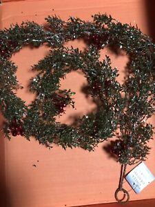gisela graham Glitter christmas Red Berry Garland decorations