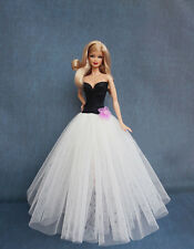 Barbie Doll Sweetheart Tulle Evening Dress Ball Gown in Black and White