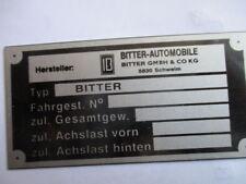 Typenschild Opel Schild diplomat Senator Bitter CD SC S41