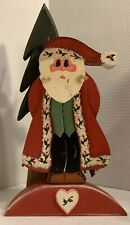 Folk Art Hand Painted Santa Signed and Dated 1995