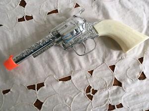 """Vintage Die Cast Tootsie Toy """"PONY BOY"""" Toy Cap Gun Metal Cowboy Pistol White"""