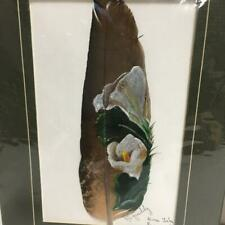 """Matted 8"""" Hand Painted Feather Flower Artist Signed Original Art Panama NICE!"""