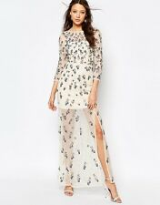 Stunning Cream Floral Embellished Maxi Dress w/ Thigh Split Size 16
