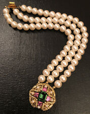 Vintage Art Deco Style Three Strand Faux Pearl Bracelet With Decorative Clasp