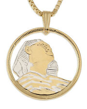 "Egypt Sphinx Pendant & Necklace Hand Cut Egyptian Coin 1"" diameter ( # 94 )"
