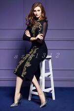 Hot ladies elegant womens dress embroidery skirts long sleeve mesh furcal slim