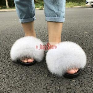 Gray Women's Fluffy Real Fox/Raccoon Fur Slides Slipper Intdoor Sandals US 8.5-9