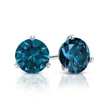 1.5 Ct London Blue Topaz earrings Solid 14k white gold Martini stud earrings
